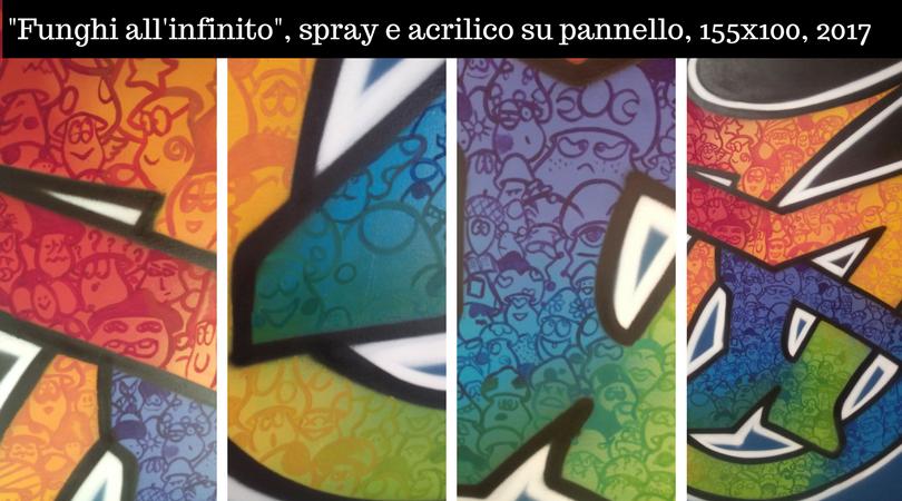 Collage pannello Funghi all'Infinito, 2017, spray e acrilico su compensato - Mondofungo