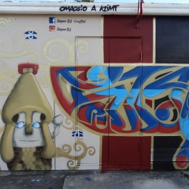 Parete Sud Salgared'Art. Lettering a sinistra e Pallade Atena con Albero della vita © Laura Ghianda